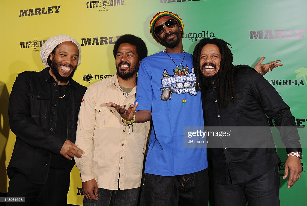 Ziggy Marley Robert Marley Snoop Dogg and Rohan Marley attend the Los Angeles premiere of 'Marley' at ArcLight Cinemas Cinerama Dome on April 17 2012...