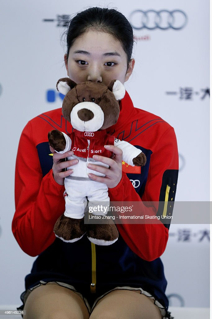 Zijun Li of China reacts after the perform Ladies Short Program on day two of Audi Cup of China ISU Grand Prix of Figure Skating 2015 at Beijing Capital Gymnasium on November 7, 2015 in Beijing, China.