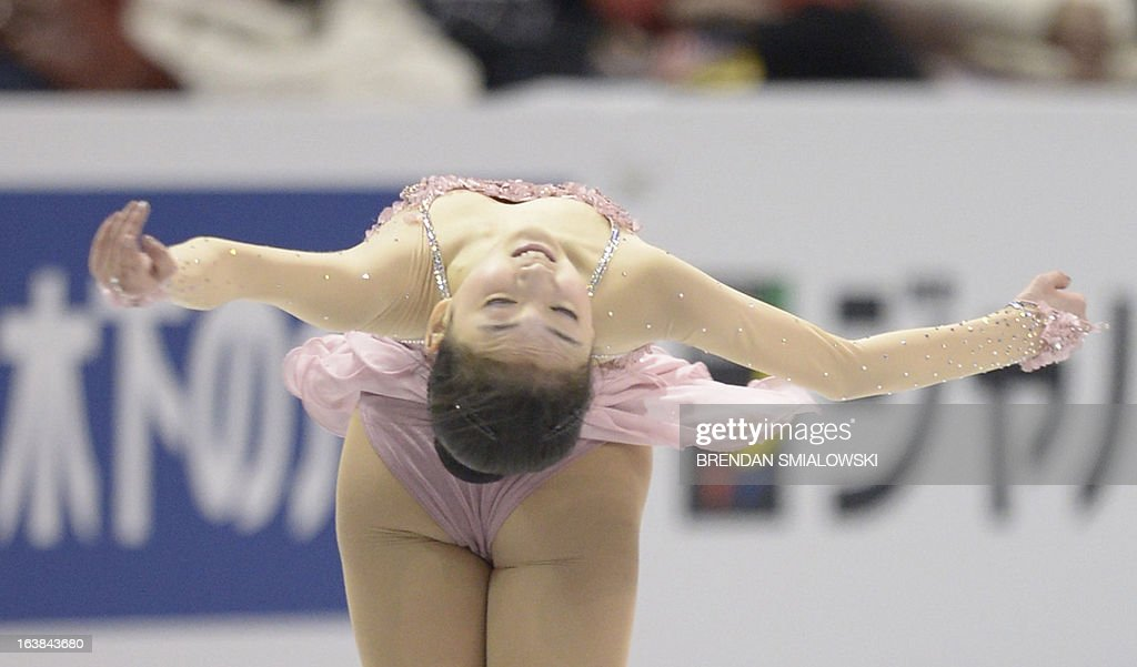 Zijun Li, representing China, performs in the free program women's competition at the 2013 World Figure Skating Championships in London, Ontario, March 16, 2013. AFP PHOTO/Brendan SMIALOWSKI
