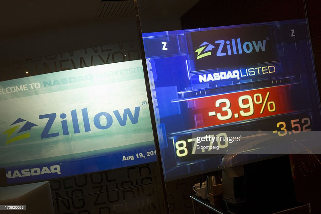 Zillow Inc. signage is displayed at the Nasdaq MarketSite in New York, U.S., on Monday, Aug. 19, 2013. Zillow Inc., operator of the largest U.S. real-estate website, agreed to acquire StreetEasy for $50 million in cash to expand its coverage of the New York market. Photographer: Scott Eells/Bloomberg via Getty Images