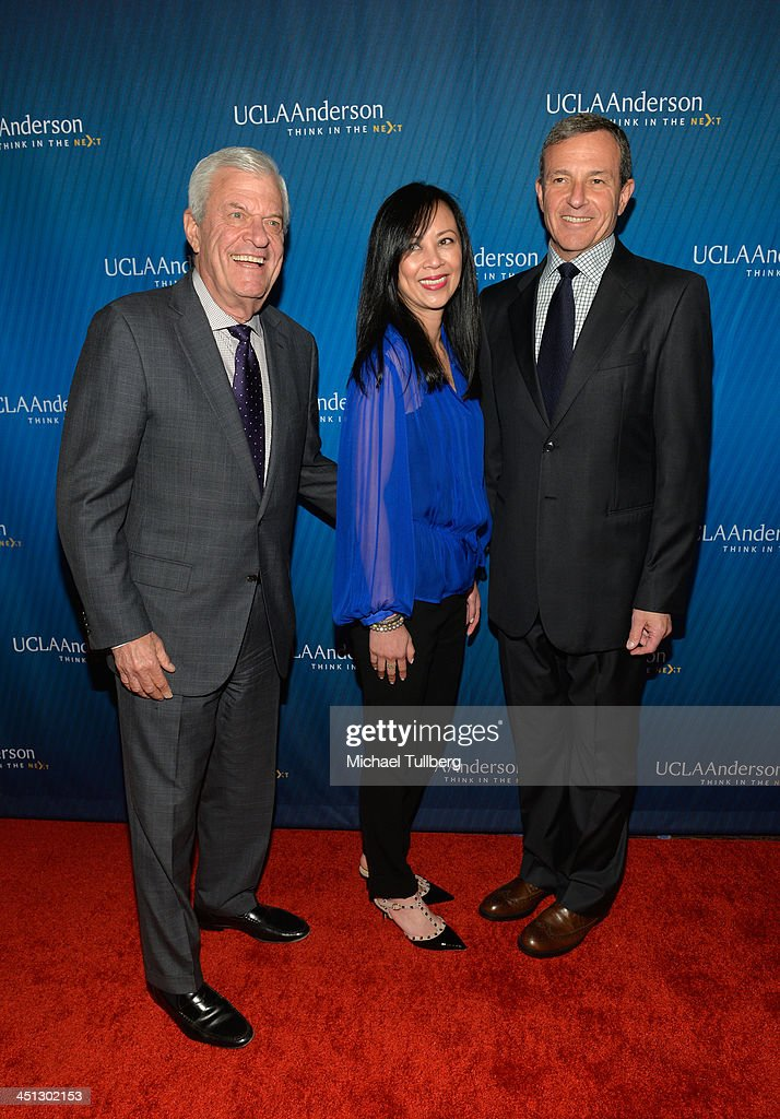 Ziman Center founder Richard Ziman, guest and Walt Disney Company Chairman <a gi-track='captionPersonalityLinkClicked' href=/galleries/search?phrase=Bob+Iger&family=editorial&specificpeople=171211 ng-click='$event.stopPropagation()'>Bob Iger</a> attend the 2013 Joh Wooden Global Leadership Awards hosted by the UCLA Anderson School of Management at The Beverly Hilton Hotel on November 21, 2013 in Beverly Hills, California.