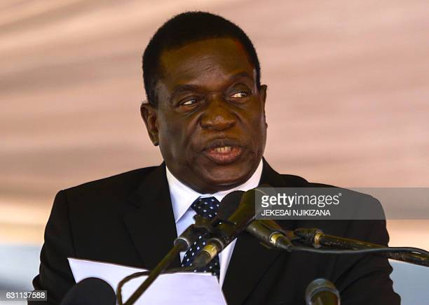Zimbabwe acting President Emmerson Mnangagwa speaks during the funeral ceremony of Peter Chanetsa at the National Heroes Acre in Harare on January 7...