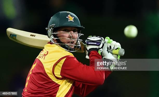 Zimbabwe batsman Brendan Taylor plays a shot at the Bellerive Oval ground during the 2015 Cricket World Cup Pool B match between Ireland and Zimbabwe...