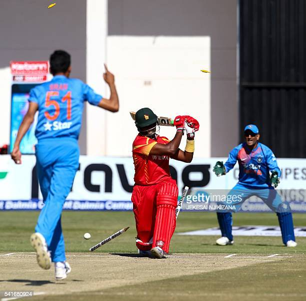 Zimbabwe batsman Hamilton Masakadza looses his wicket during the second Twenty20 cricket match in the threematch series between India and Zimbabwe in...