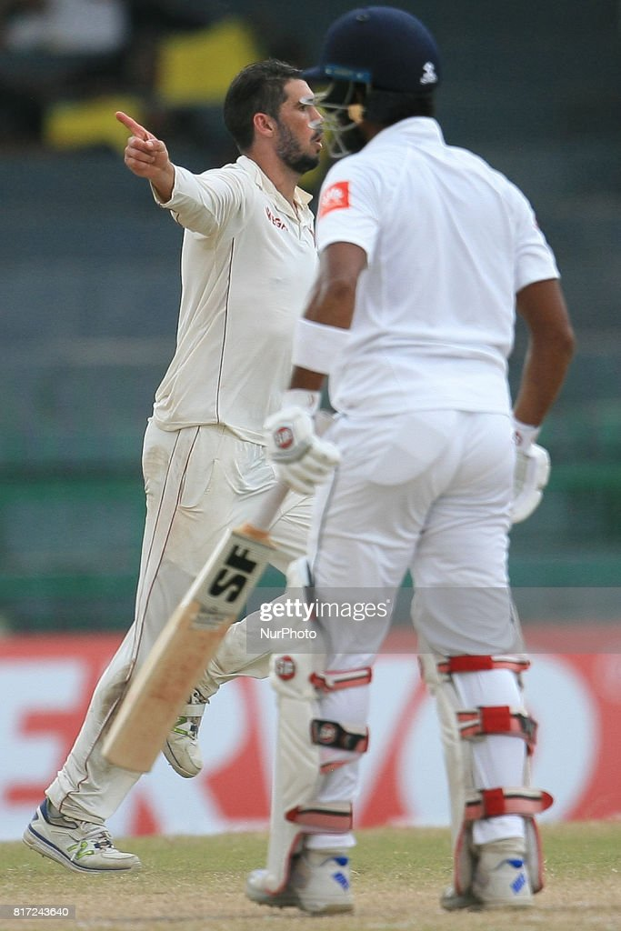 Zimbabwe cricket captain Graeme Cremer(L) in celebration mood after dismissing Sri Lankan cricket captain Dinesh Chandimal (R) during the 4th day's play in the only Test match between Sri Lanka and Zimbabwe at R Premadasa International Cricket Stadium in the capital city of Colombo, Sri Lanka on Monday 17th July 2017