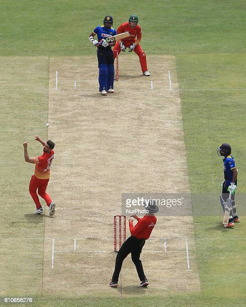 Zimbabwe cricket captain Graeme Cremer misses a catch to dismiss Sri Lanka's Danushka Gunathilaka during the 4th One Day International cricket matcth...