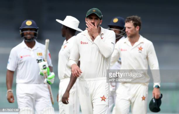 Zimbabwe cricket captain Graeme Cremer reacts on the final day of a oneoff Test match between Sri Lanka and Zimbabwe at the R Premadasa Cricket...
