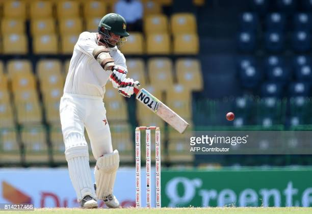 Zimbabwe cricketer Craig Ervine plays a shot during the first day of the only oneoff Test match between Sri Lanka and Zimbabwe at the R Premadasa...