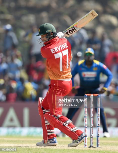 Zimbabwe cricketer Craig Ervine plays a shot during the first oneday international cricket match between Sri Lanka and Zimbabwe at the Galle...