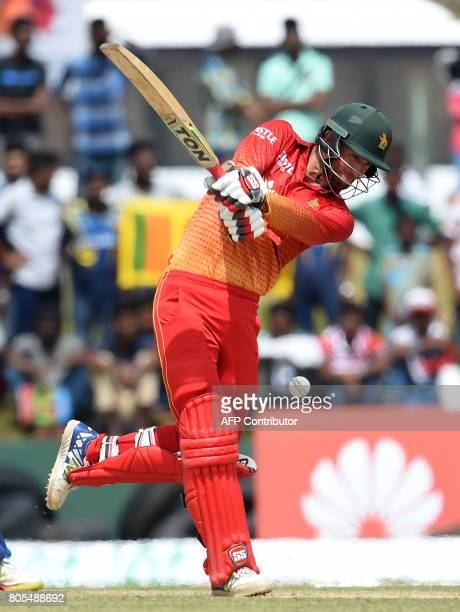 Zimbabwe cricketer Craig Ervine plays a shot during the second oneday international cricket match between Sri Lanka and Zimbabwe at the Galle...