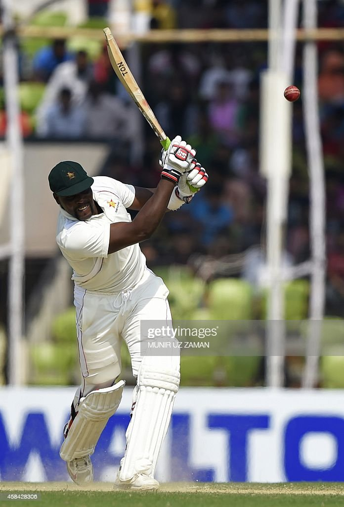 Zimbabwe cricketer Hamilton Masakadza plays a shot during the third day of the second cricket Test match between Bangladesh and Zimbabwe at the...
