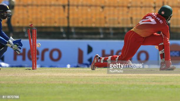 Zimbabwe cricketer Solomon Mire is bowled out during the 5th One Day International cricket match between Sri Lanka and Zimbabwe at Mahinda Rajapaksa...