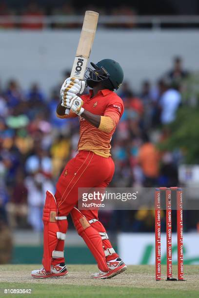 Zimbabwe cricketer Solomon Mire plays a shot during the 4th One Day International cricket matcth between Sri Lanka and Zimbabwe at Mahinda Rajapaksa...