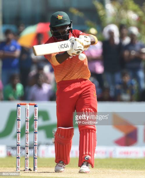 Zimbabwe cricketer Solomon Mire plays a shot during the first oneday international cricket match between Sri Lanka and Zimbabwe at the Galle...