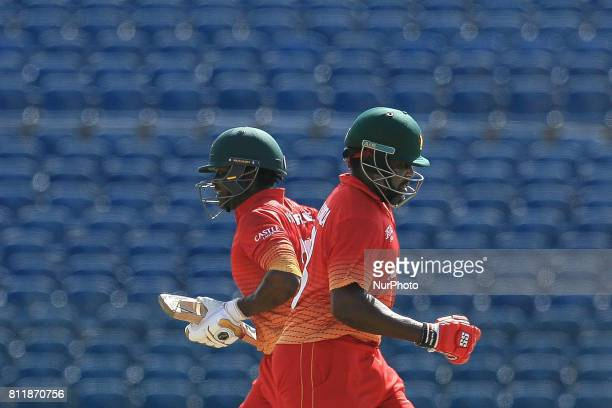 Zimbabwe cricketers Hamilton Masakadza and Solomon Mire run between the wickets during the 5th One Day International cricket match between Sri Lanka...