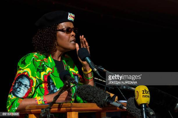 Zimbabwe first lady Grace Mugabe addresses the crowd during a Zimbabwe ruling party Zimbabwe African National Union Ð Patriotic Front youth rally at...