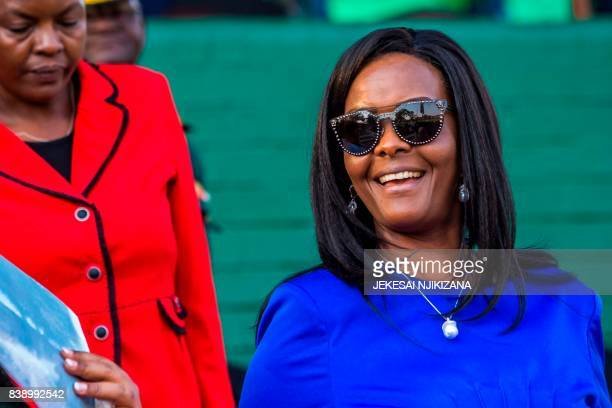 Zimbabwe first lady Grace Mugabe attends the opening of the annual agricultural fair on August 25 2017 in the capital Harare Zimbabwe's first lady...