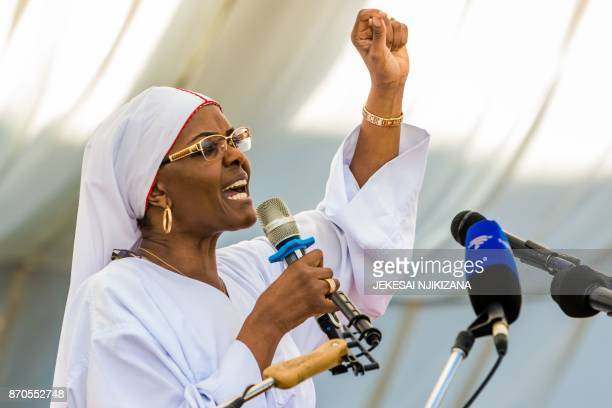 Zimbabwe first Lady Grace Mugabe gestures as she addresses Zimbabwean worshippers and congregants from various indigenous church denominations at a...