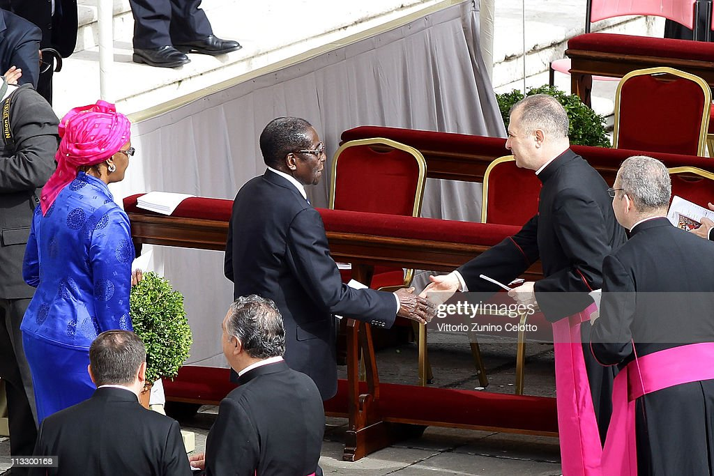 Zimbabwe President <a gi-track='captionPersonalityLinkClicked' href=/galleries/search?phrase=Robert+Mugabe&family=editorial&specificpeople=214676 ng-click='$event.stopPropagation()'>Robert Mugabe</a> and his wife Grace arrive at the John Paul II Beatification Ceremony held by Pope Benedict XVI on May 1, 2011 in Vatican City, Vatican. The ceremony marking the beatification and the last stages of the process to elevate Pope John Paul II to sainthood was led by his successor Pope Benedict XI and attended by tens of thousands of pilgrims alongside heads of state and dignitaries.
