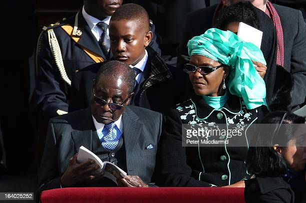 Zimbabwe President Robert Mugabe and his wife Grace attend the Inauguration Mass for Pope Francis in St Peter's Square on March 19 2013 in Vatican...