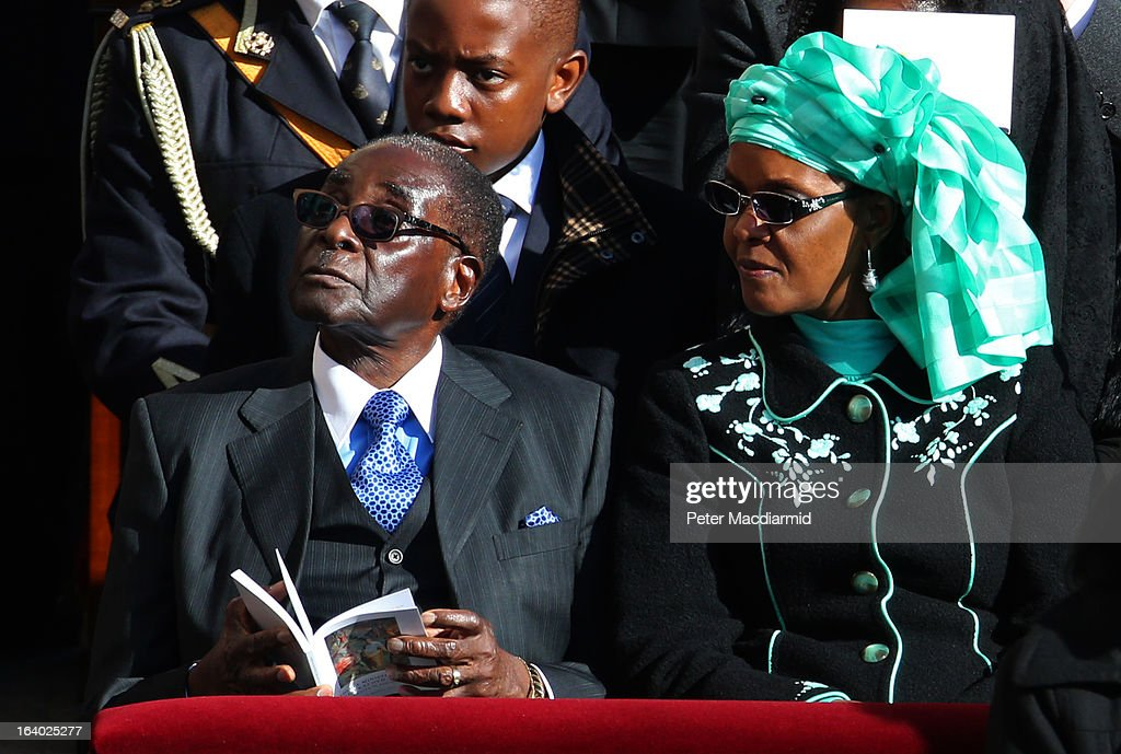 Zimbabwe President Robert Mugabe and his wife Grace attend the Inauguration Mass for Pope Francis in St Peter's Square on March 19, 2013 in Vatican City, Vatican. The mass is being held in front of an expected crowd of up to one million pilgrims and faithful who have filled the square and the surrounding streets to see the former Cardinal of Buenos Aires officially take up his role as pontiff. Pope Francis' inauguration takes place in front of Cardinals and spiritual leaders as well as heads of state from around the world.