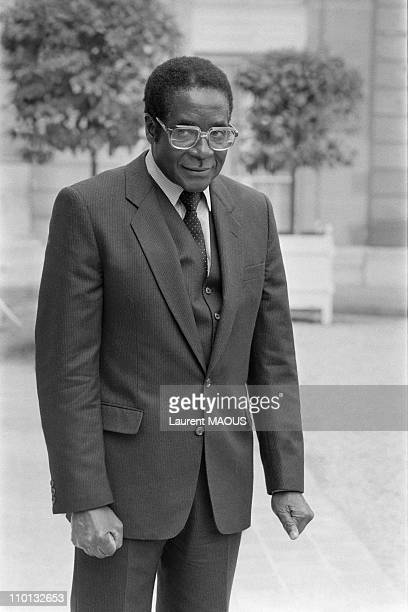 Zimbabwe Prime Minister Robert Mugabe at the Elysee Palace in Paris France on May 28 1982