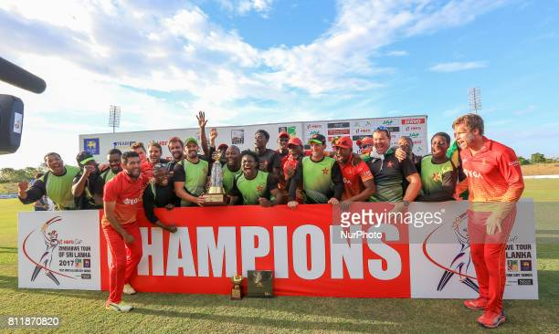 Zimbabwe team pose for a photograph after winning the ODI series 32 against the host Sri Lankan team after the 5th One Day International cricket...