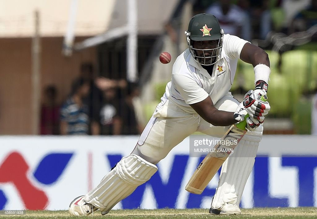 Zimbabwean cricketer Hamilton Masakadza plays a shot during the fifth day of the second cricket Test match between Bangladesh and Zimbabwe at the...