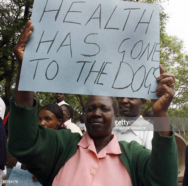 Zimbabwean doctors and nurses demonstrate in Harare on November 18 2008 Truckloads of riot police were deployed outside Harare's main hospital to...