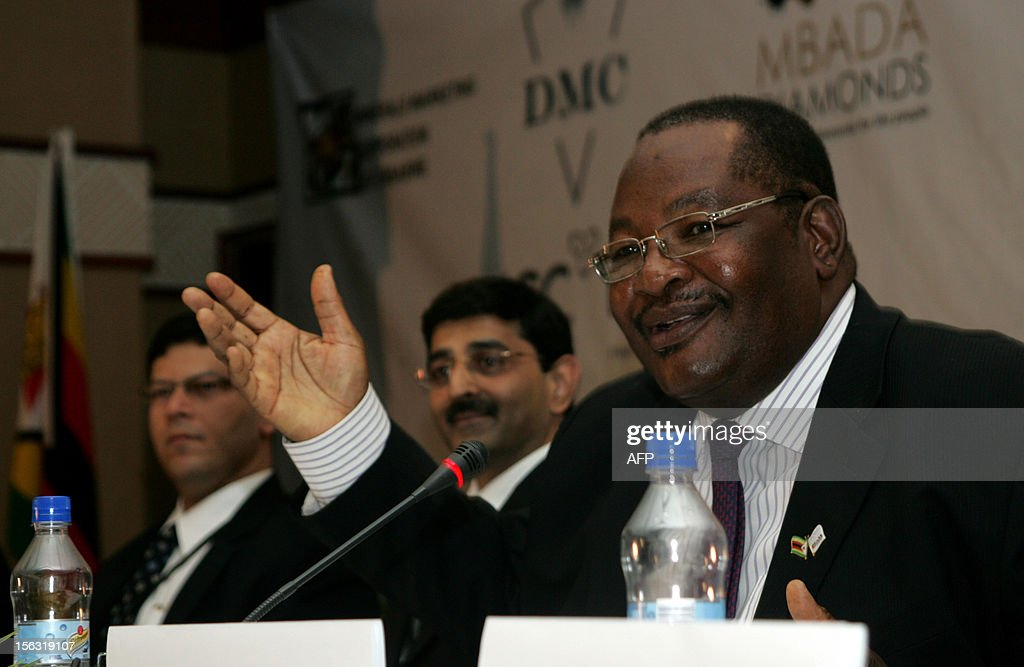Zimbabwean Minister of Mines and Mining Development Obert Mpofu delivers a speech on November 13, 2012 during the second day of the Zimbabwean Diamond Conference in Victoria Falls. Zimbabwe hosts an international diamond conference aimed at polishing the image of the country and help attract investors to the sector which was tainted by serious violations including graft, torture and murder. Zimbabwe's diamond sector has been blemished by allegations of graft, labour and human rights violations that occured when Harare deployed security forces to drive away illegal miners from the eastern Marange diamond fields.