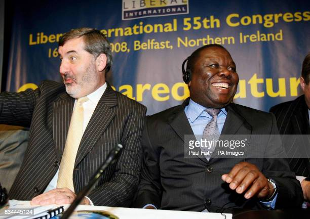 Zimbabwean opposition leader Morgan Tsvangirai at The Liberal International Congress in Belfast with Lord Alderdice President Liberal International