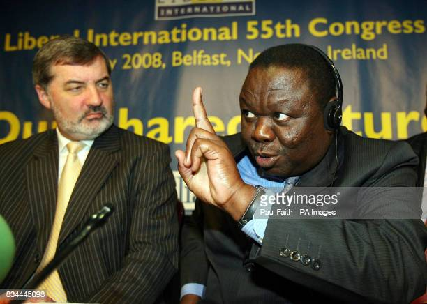 Zimbabwean opposition leader Morgan Tsvangirai speaking at The Liberal International Congress in Belfast with Lord Alderdice President Liberal...