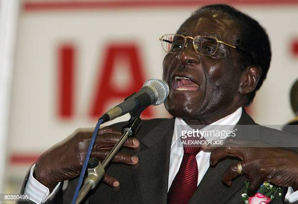 Zimbabwean president and leader of the ruling party ZANUPF Robert Mugabe addresses people attending a church service in Bulawayo on March 23 2008...