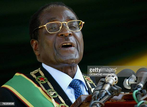 Zimbabwean President Robert Mugabe addresses 14 August 2007 members of the Defence forces at the 27th Annivesary of the Zimbabwe Defence Forces...