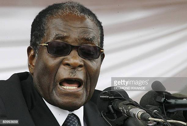 Zimbabwean President Robert Mugabe addresses mourners during the burial of ZanuPF National Political Commissar Elliot Manyika at Heroes Acre in...