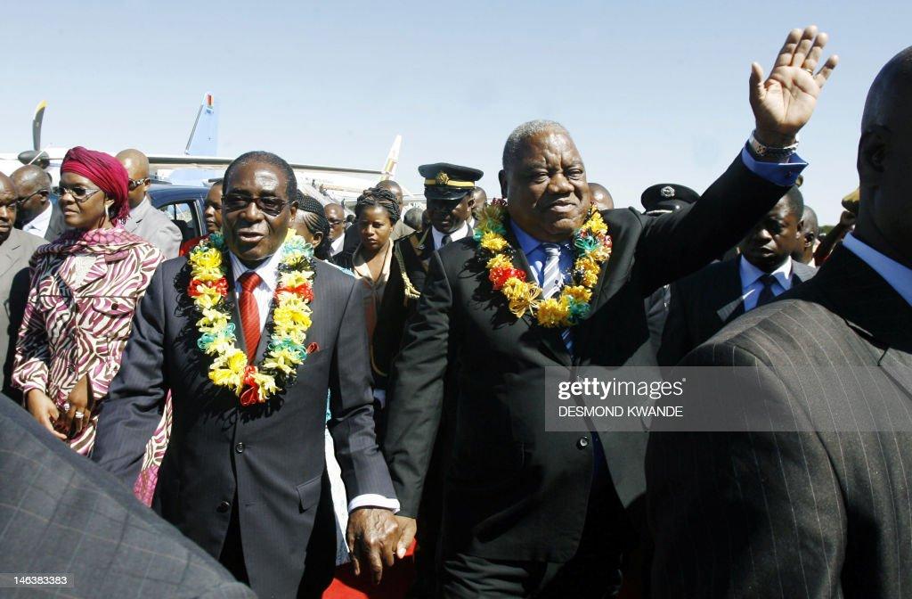 Zimbabwean President Robert Mugabe and Zambian President Rupiah Banda arrive in Bulawayo for the official opening of Zimbabwe International Trade...