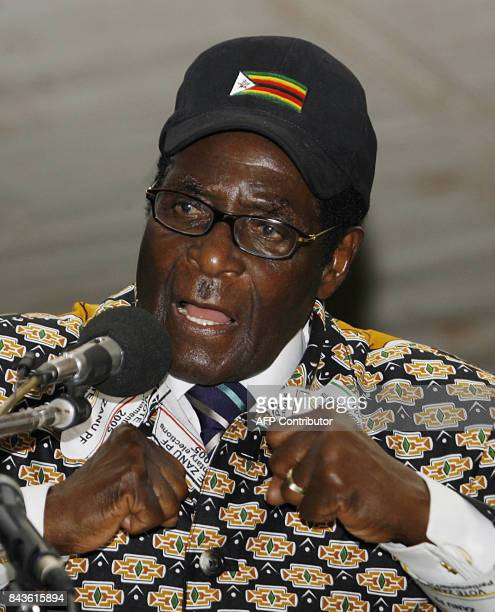 Zimbabwean President Robert Mugabe is pictured addressing delegates on the last day of his party's 10th annual conference in the northwestern mining...