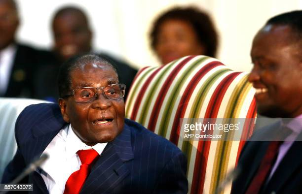 Zimbabwean President Robert Mugabe speaks as he attends the 2nd Session of the South AfricaZimbabwe binational Commission on October 3 2017 at Sefako...