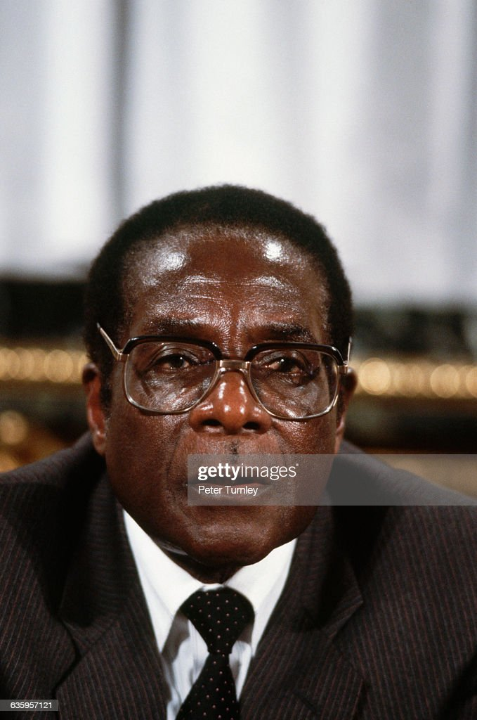 Zimbabwean Prime Minister <a gi-track='captionPersonalityLinkClicked' href=/galleries/search?phrase=Robert+Mugabe&family=editorial&specificpeople=214676 ng-click='$event.stopPropagation()'>Robert Mugabe</a>