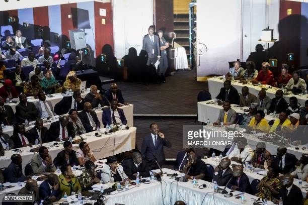 Zimbabwean Senators and Members of Parliament gather on November 21 for a general session of parliament and senate at the Rainbow Tower Conference...