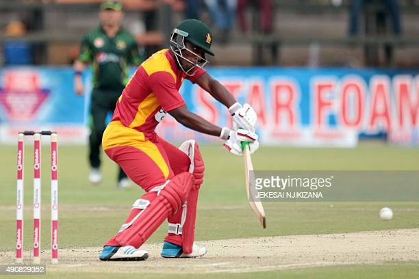Zimbabwe's batsman Brian Chari plays a shot during the first in a series of three One Day International cricket matches between Pakistan and hosts...