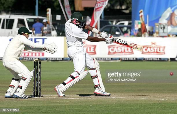 Zimbabwe's batsman Hamilton Masakadza bats during day four of the second Test cricket match between Zimbabwe and Bangladesh on April 28 2013 at the...