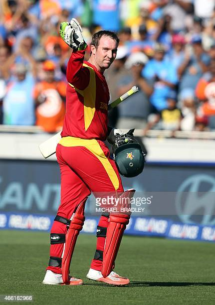 Zimbabwe's Brendan Taylor is dismissed for 138 during the Pool B Cricket World Cup match between India and Zimbabwe at Eden Park in Auckland on March...