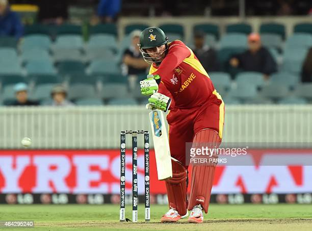 Zimbabwe's Brendan Taylor plays a shot during the 2015 Cricket World Cup Pool B match between the West Indies and Zimbabwe at The Manuka Oval in...