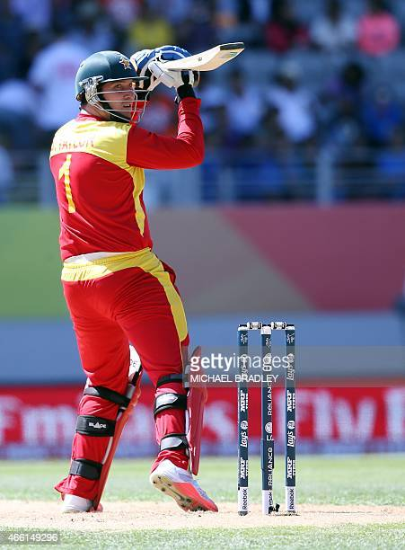 Zimbabwe's Brendan Taylor plays a shot during the Pool B Cricket World Cup match between India and Zimbabwe at Eden Park in Auckland on March 14...