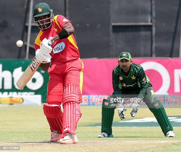 Zimbabwe's captain Elton Chigumbura bats during the second game in a series of three ODI cricket matches between Pakistan and host Zimbabwe at Harare...