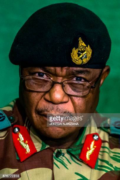 Zimbabwe's Commander Defense Forces General Constantino Guveya Chiwenga speaks during a press conference at the Tongogara Barracks on November 20...