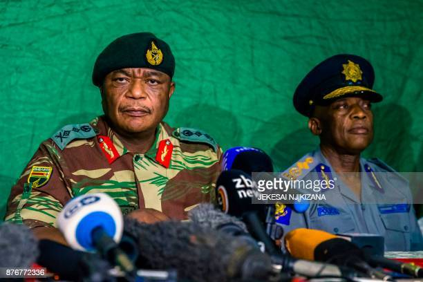 Zimbabwe's Commander Defense Forces General Constatntino Guveya Chiwenga speaks during a press conference at the Tongogara Barracks on November 20...