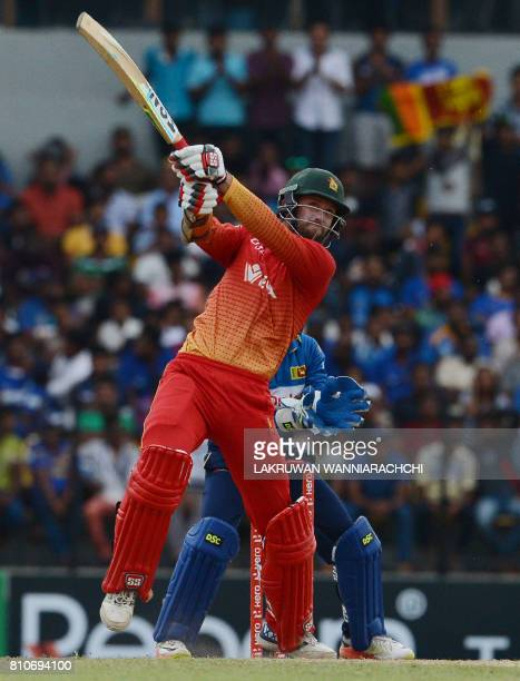 Zimbabwe's cricketer Craig Ervine plays a shot during the fourth oneday international cricket match between Sri Lanka and Zimbabwe at the Suriyawewa...