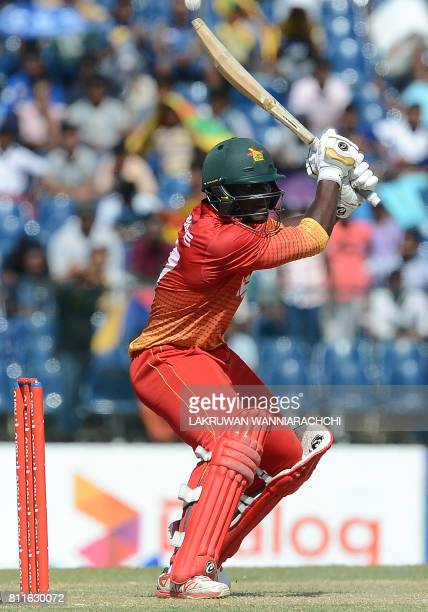 Zimbabwe's cricketer Solomon Mire plays a shot during the fifth oneday international cricket match between Sri Lanka and Zimbabwe at the Suriyawewa...